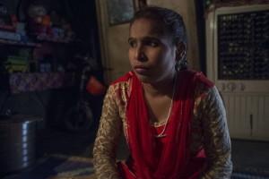 Meena, un'ex manual scavenger di Nand Nagri a casa sua. New Delhi.