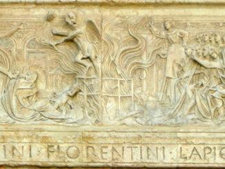 Bernardino da Siena organizza un falò delle vanità (1457-1461), Agostino di Duccio, Oratorio di San Bernardino, Perugia